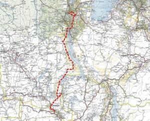 Trasa etapu Kongo Safiri
